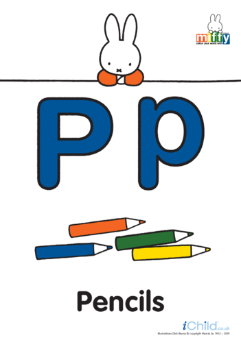 Thumbnail image for the P: Miffy's Letter Pp (less ink) activity.