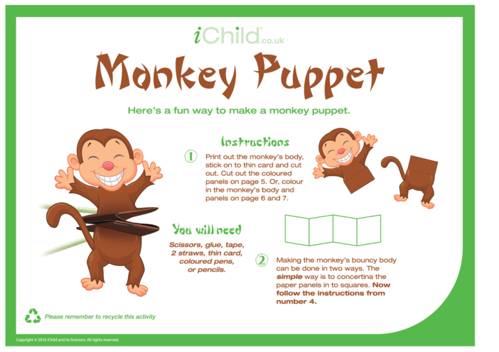 Thumbnail image for the Chinese Monkey Puppet activity.