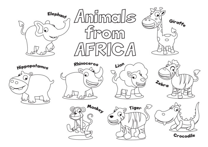 Thumbnail image for the Animals from Africa (black & white) - Signs & Posters activity.