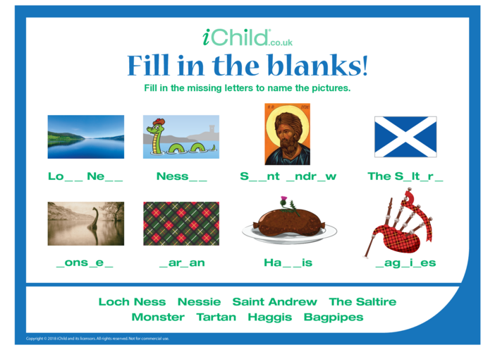 Thumbnail image for the Fill in the Blanks - St. Andrew's Day activity.