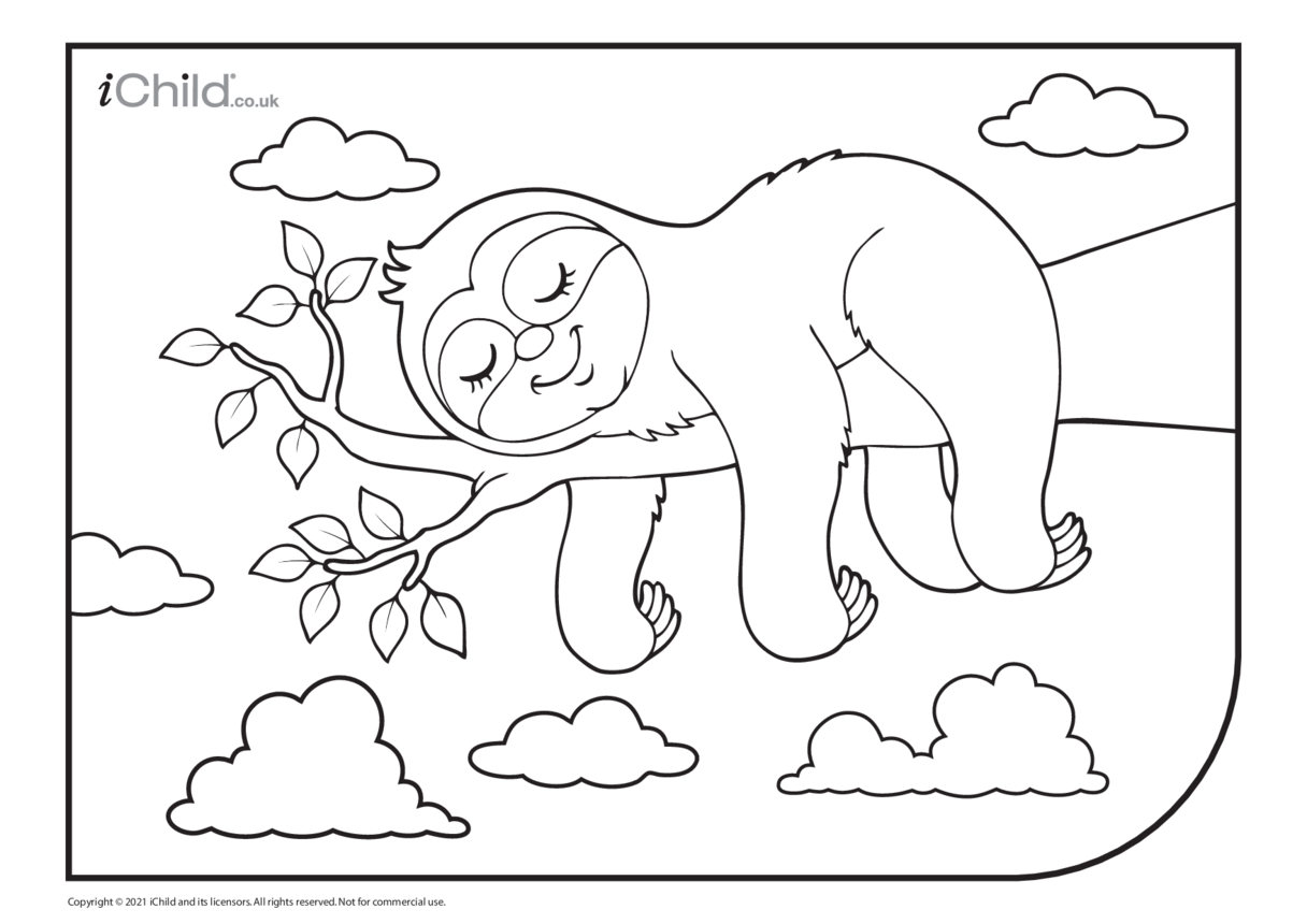 Sleeping Sloth Colouring in Picture