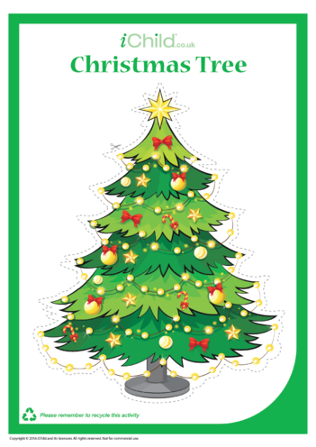Thumbnail image for the Christmas Tree Cut-Out Decoration activity.