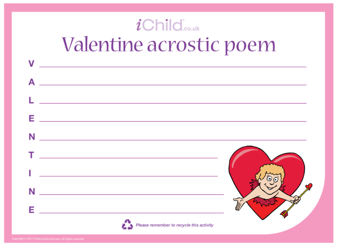 Thumbnail image for the Valentine's Day Acrostic Poem activity.