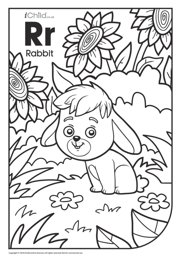 R is for Rabbit Colouring in Picture
