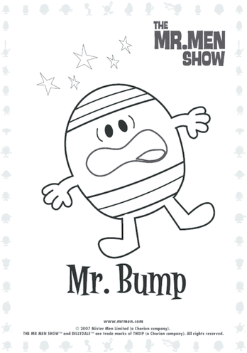 Thumbnail image for the Mr Bump Colouring in picture activity.