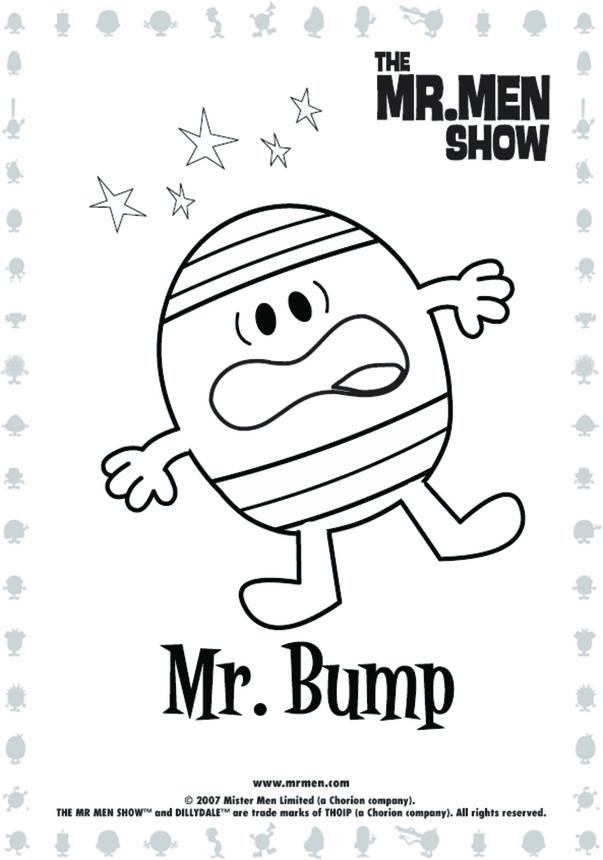 Mr Bump Colouring in picture