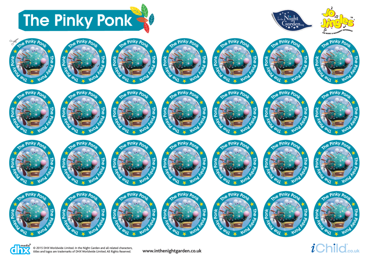 In the Night Garden Sticker Sheet: The Pinky Ponk