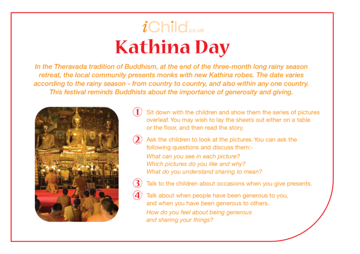 Thumbnail image for the Kathina Day Religious Festival Story activity.