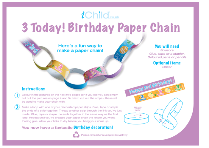 Thumbnail image for the Birthday Party Decoration Paper Chain for 3 year old 3rd birthday activity.