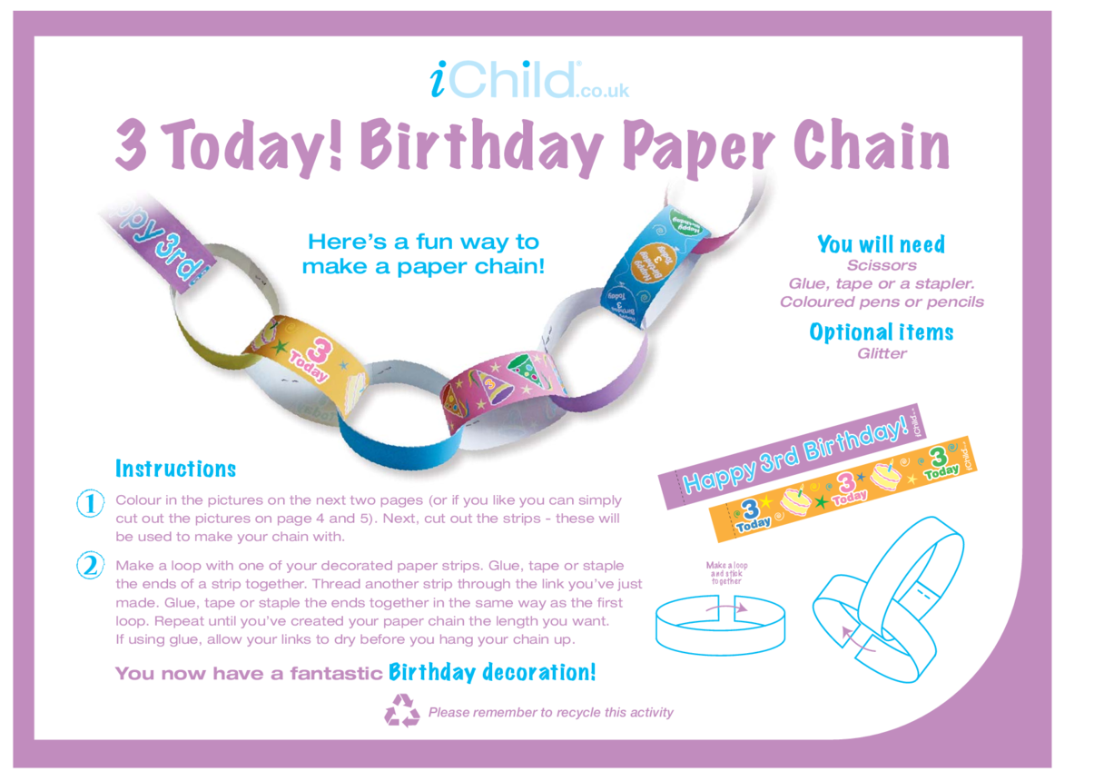 Birthday Party Decoration Paper Chain for 3 year old 3rd birthday
