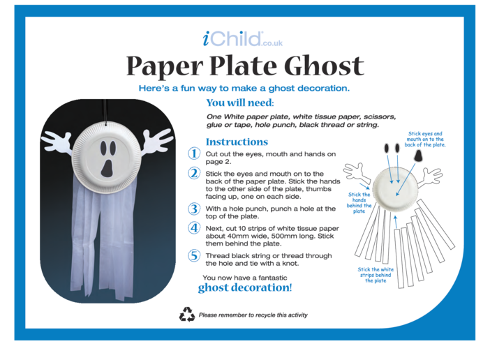 Thumbnail image for the Ghost Paper Plate Craft activity.