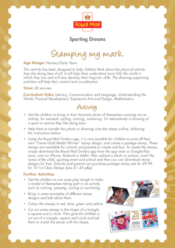 Thumbnail image for the Early Years 3) Stamping My Mark Lesson Plan activity.