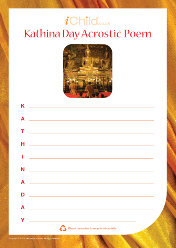 Thumbnail image for the Kathina Day Acrostic Poem activity.