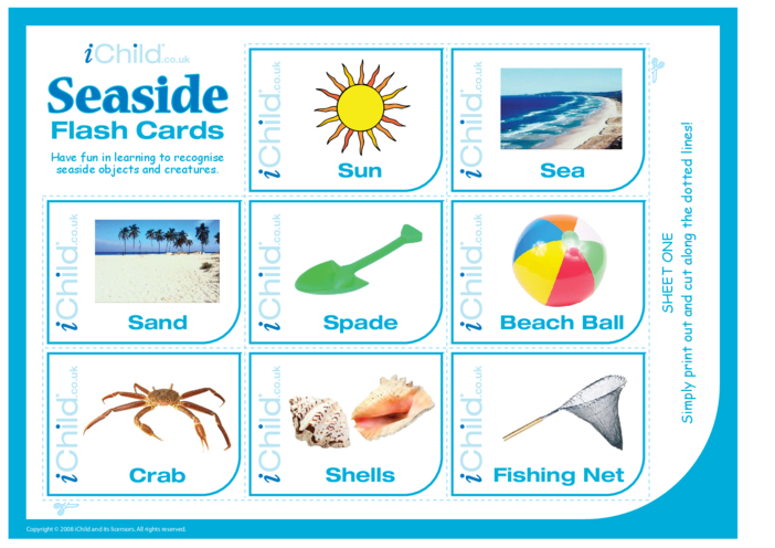 Thumbnail image for the Seaside Flash Cards activity.
