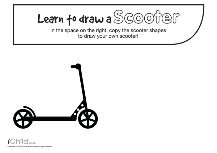 Thumbnail image for the Learn to Draw a Scooter activity.