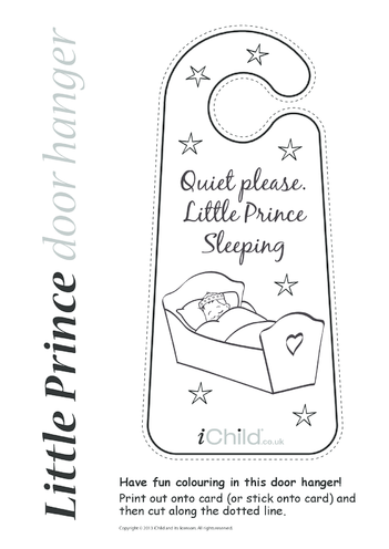 Thumbnail image for the Little Prince Sleeping Door Hanger activity.
