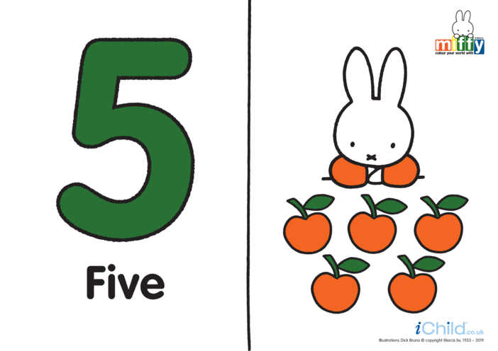 Thumbnail image for the Number 5 with Miffy (less ink) activity.