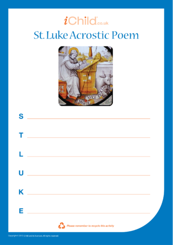 Thumbnail image for the St. Luke Acrostic Poem activity.