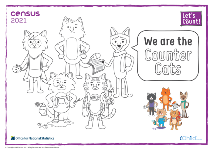 Thumbnail image for the Colour in the Counter Cats (English) activity.
