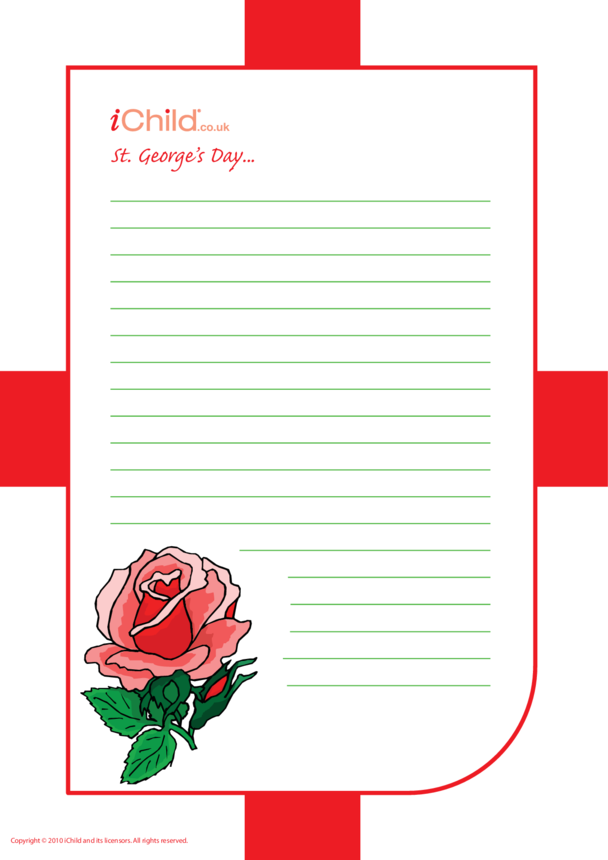 St. George's Day Lined Writing Paper