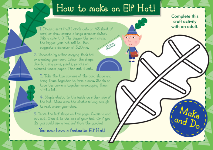 Thumbnail image for the Make an Elf Hat Craft: Ben & Holly's Little Kingdom activity.