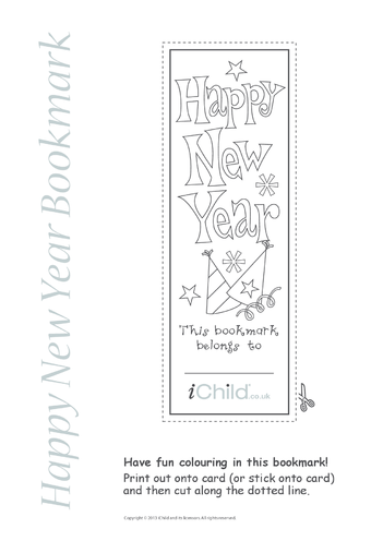 Thumbnail image for the Happy New Year Bookmark activity.