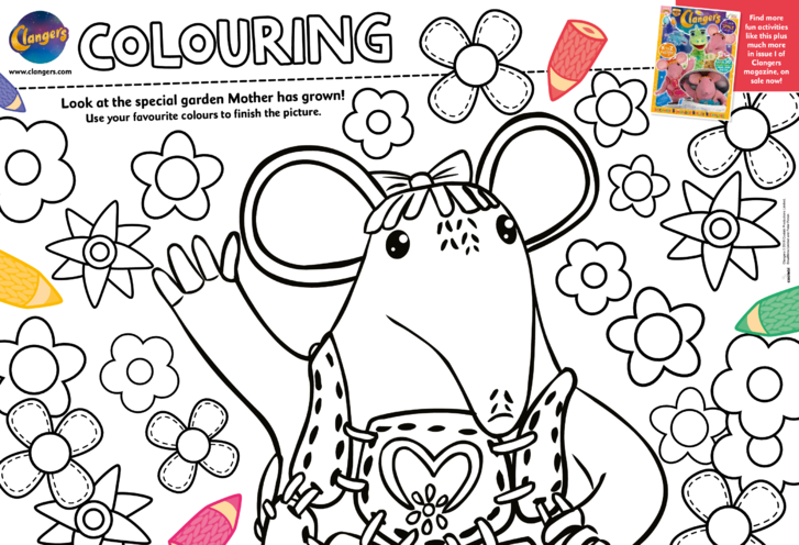 Thumbnail image for the Clangers Colouring in Picture activity.