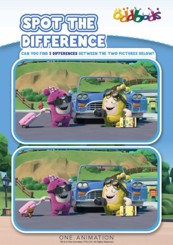 Thumbnail image for the Spot the Difference 6 Oddbods activity.