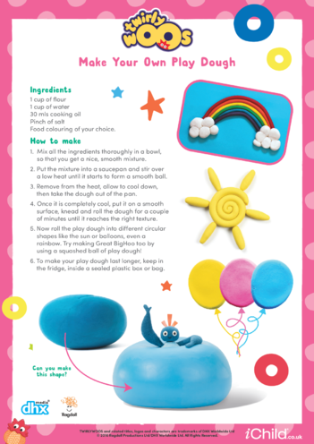 Thumbnail image for the Make Twirlywoos Play Dough activity.