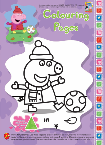 Thumbnail image for the Peppa Pig Colouring in picture activity.
