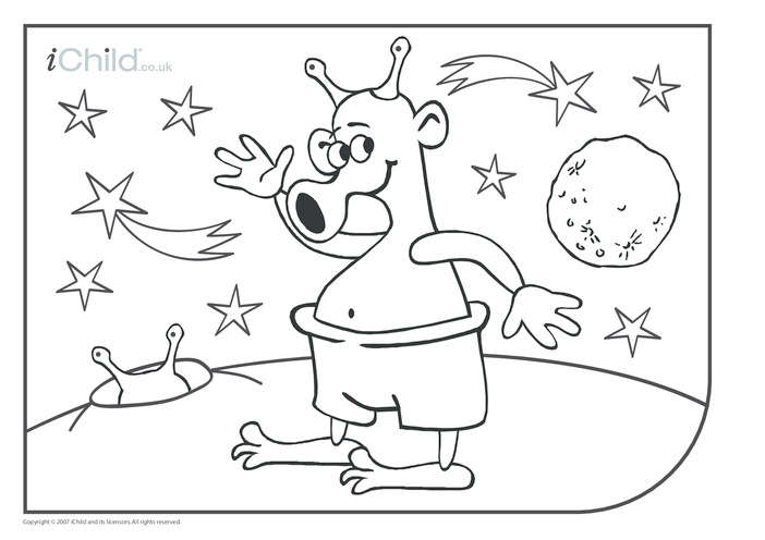 Thumbnail image for the Alien Colouring in picture activity.