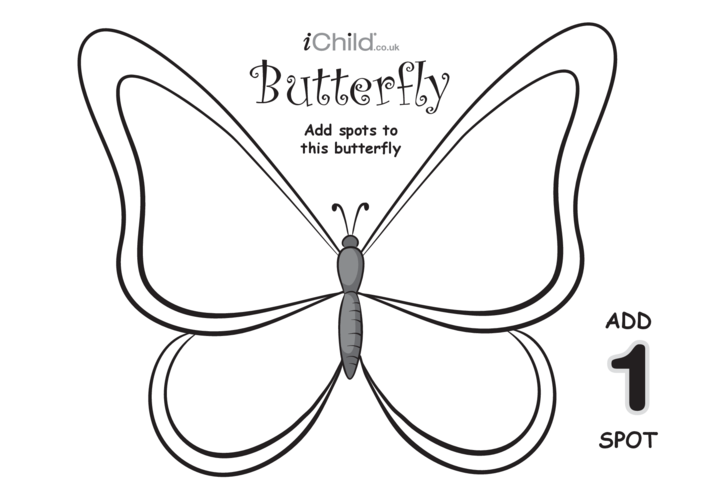 Thumbnail image for the Play Dough Counting Mats: Butterfly (black & white) activity.