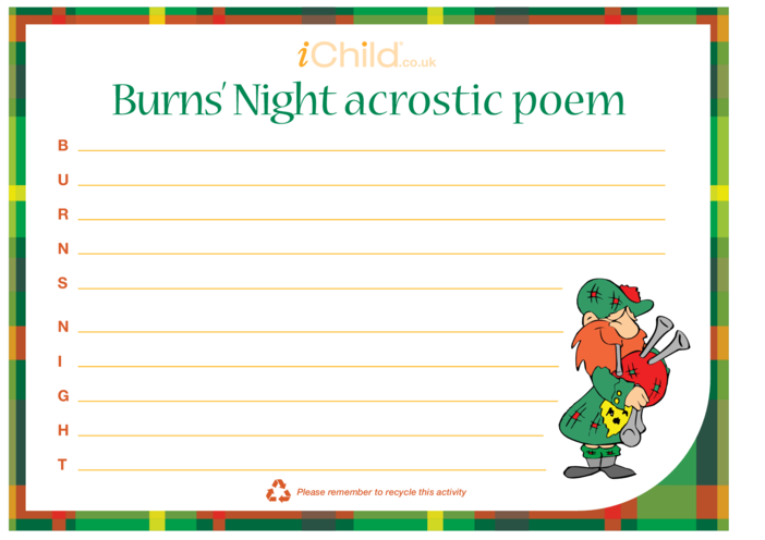 Thumbnail image for the Burns' Night Acrostic Poem activity.
