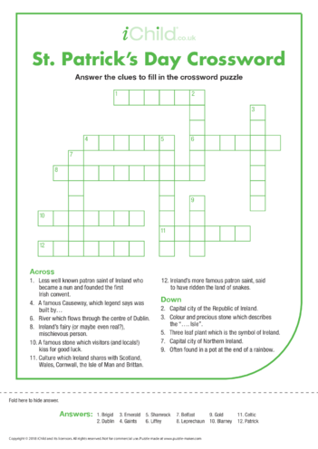 Thumbnail image for the St. Patrick's Day Crossword activity.
