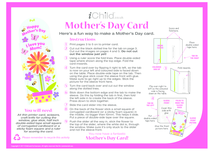Thumbnail image for the Mother's Day Card Craft activity.