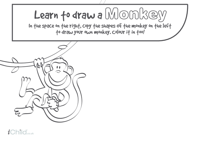 Thumbnail image for the Learn to Draw a Monkey activity.