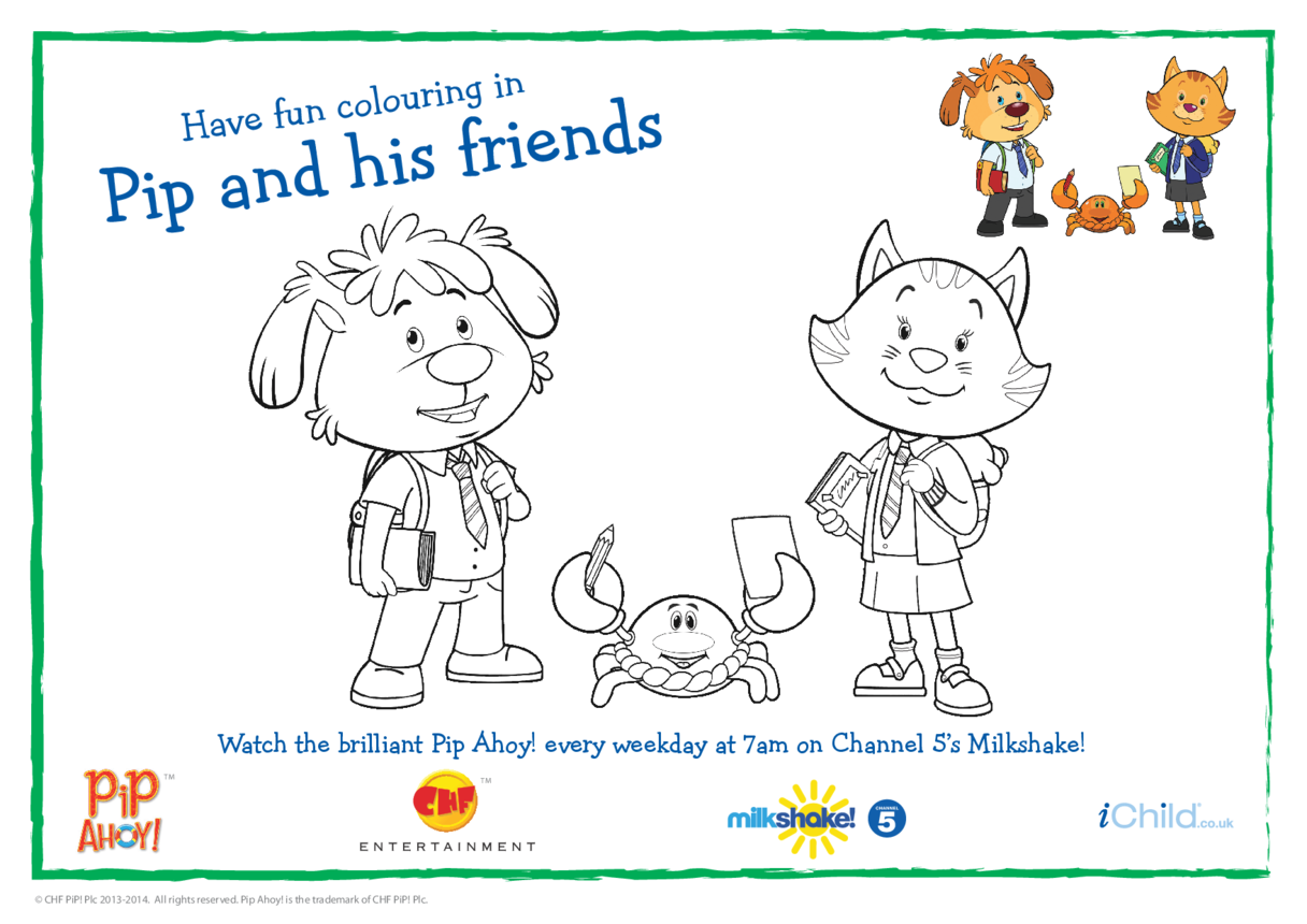 Back to School Colouring In Picture (Pip Ahoy!)