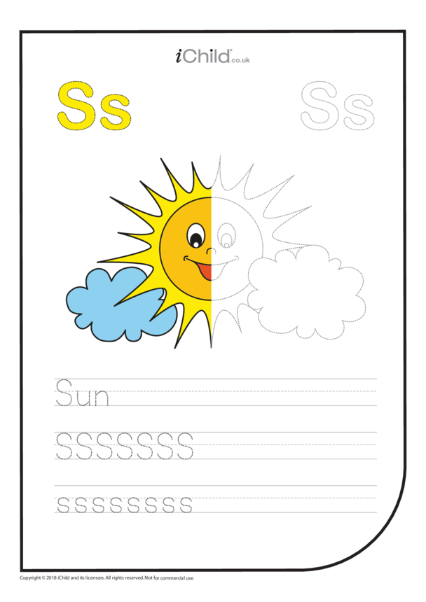 S: Write the Letter S for Sun