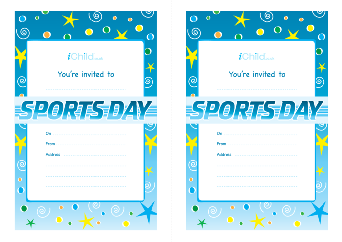 Thumbnail image for the Sports Day Invitation Templates activity.