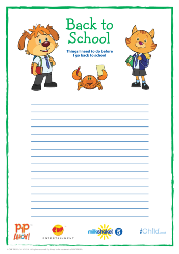 Thumbnail image for the Back To School To Do List (Pip Ahoy!) activity.