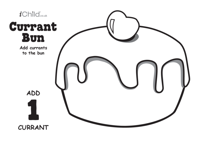Thumbnail image for the Play Dough Counting Mats: Currant Bun (black & white) activity.