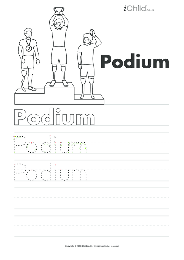 Podium Handwriting Practice Sheet
