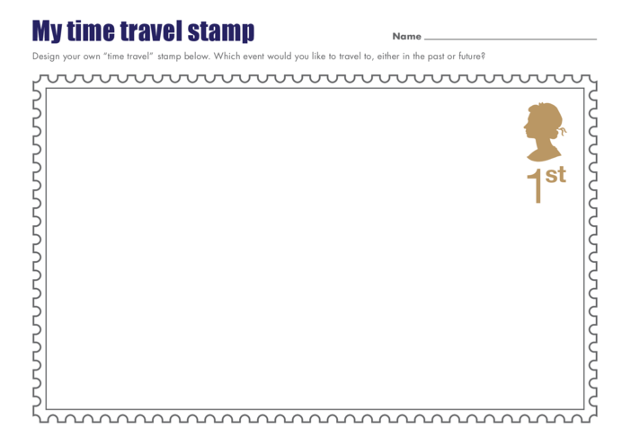 Thumbnail image for the Primary 1) My Time Travel Stamp Drawing Template (Queen's Head) activity.