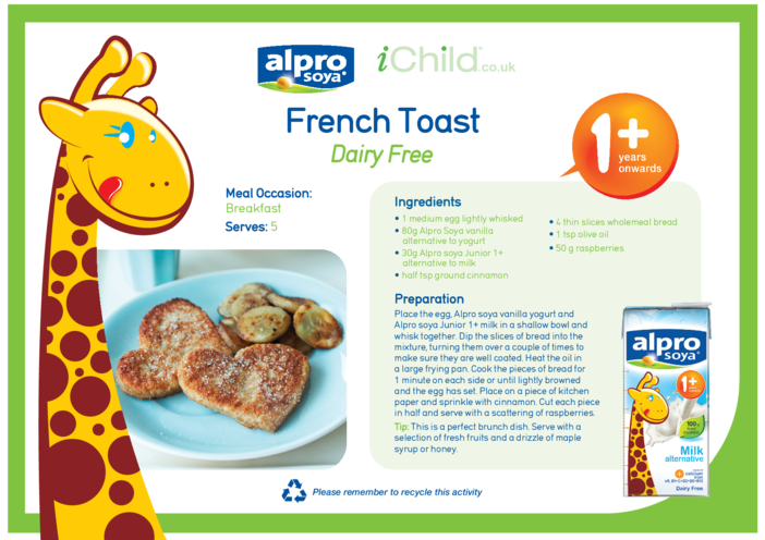 Thumbnail image for the French Toast Dairy Free Recipe activity.