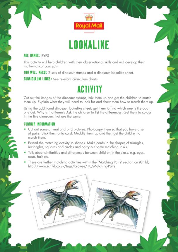 Early Years (EYFS) 4) Lookalike Lesson Plan