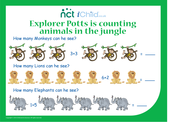 Thumbnail image for the Counting Jungle Animals activity.