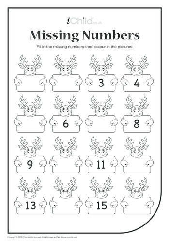Thumbnail image for the Missing Numbers - Reindeer activity.