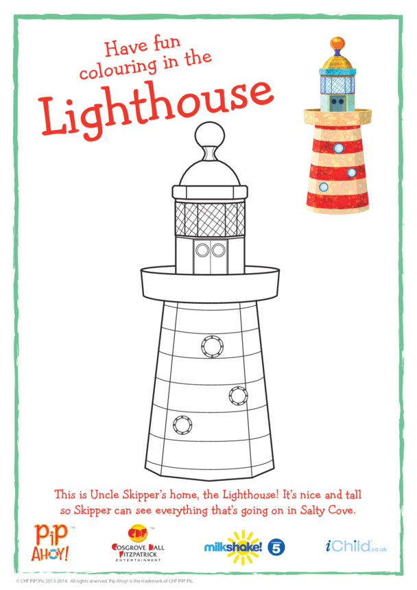 Lighthouse Colouring In Picture (Pip Ahoy!)