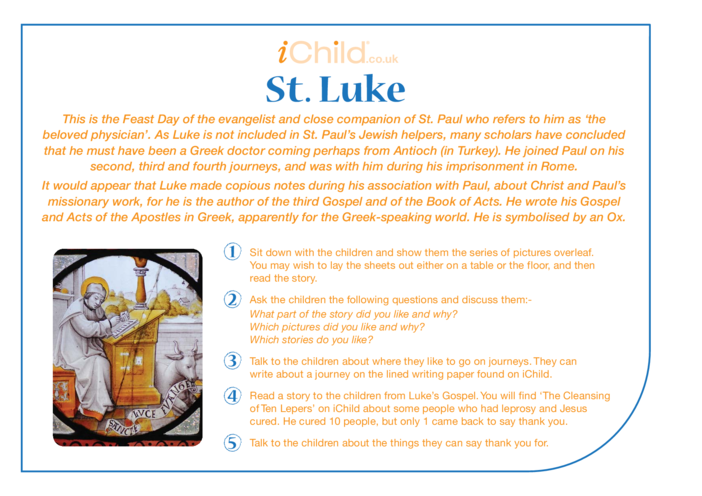 Thumbnail image for the St. Luke Religious Festival Story activity.