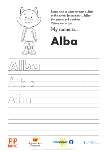 Thumbnail image for the Alba Handwriting Practice Sheet (Pip Ahoy!) activity.